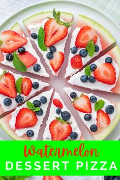 This easy watermelon recipe is perfect for the hot summer days! Not only is watermelon pizza festive in colors, but refreshing, and an easy dessert idea!