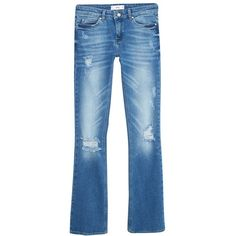 Mango Bootcut Cara Jeans, Open Blue ($61) ❤ liked on Polyvore featuring jeans, mid rise boot cut jeans, ripped blue jeans, embellished bootcut jeans, embellish jeans and boot-cut jeans