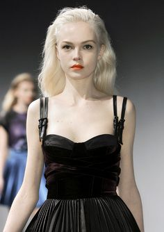 fair skin and hair, with orange lips. Versus Fall 2010 collection