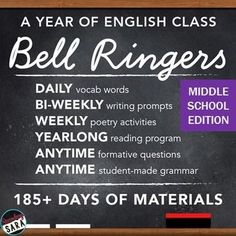 (Updated) Middle School Edition: Bell-Ringers & Programs Bundle for ELA! Includes your whole year of vocab, grammar, poetry, independent reading, and more!