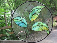 Stained Glass Three Leaf Round Seedling Panel by RenaissanceGlass. Stained Glass Flowers, Stained Glass Designs, Stained Glass Panels, Stained Glass Projects, Stained Glass Patterns, Leaded Glass, Stained Glass Art, Mosaic Glass, Fused Glass