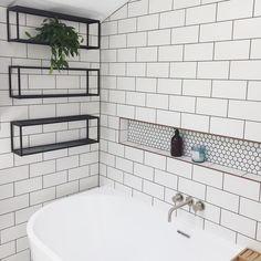Bathroom Red, Bathroom Storage, Bathroom Ideas, Bathrooms, Old Ones, Clawfoot Bathtub, Our Love, Floating Shelves, Bath Mat