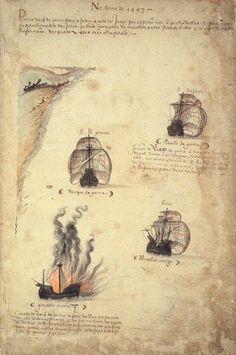 Uma frota de 4 navios - A náu S. Gabriel, sob o comando de Gonçalo Álvares, era a nau capitania de Vasco da Gama. Paulo da Gama, seu irmão, comandava a S. Rafael, e Nicolau Coelho, a Bérrio. O quarto navio, destinado ao transporte dos mantimentos, seguia sob o comando de Gonçalo Nunes, que, mais tarde, teria a triste missão de afundá-lo. Pela prancha de embarque entraram barricas de vinho e de água, (mantimentos - cont.1).