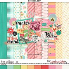 "Digital scrapbooking Kit Now Or Never - by ninigoesdigi at Oscraps. Bright and juicy colors to illustrate your memories when you thought ""Carpe diem"", ""enjoy the moment""!"