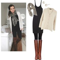 Black. Brown. Leggings. Scarf. Sweater.