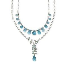 Cascading 6.50 ct. t.w. aquamarines intermingle with 33.50 ct. t.w. briolette blue topaz drops on two chain-link strands of polished sterling silver. Cable chain with lobster clasp. Free shipping & easy 30-day returns. Fabulous jewelry. Great prices. Since 1952.