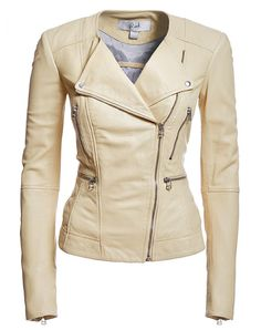 Supremely supple Blink lamb leather bomber is effortlessly cool. It features snap lapels that allow for multiple styling options. Polka dot lining with velvet trim in the interior adds a fun factor. Cream Leather Jacket, Leather Blazer, Leather Jackets, Brown Blazer, Brown Jacket, Cream Blazer, Blazers, Sweater Jacket, Blazer Jacket