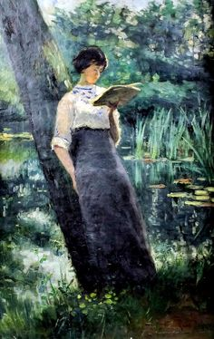 Standing woman, reading under a tree  ~René de Groux
