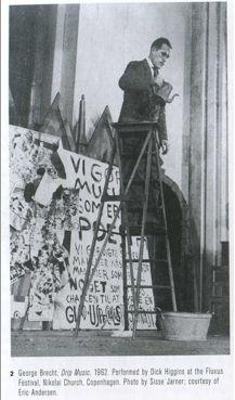 Dick Higgins performing George Brecht's Drip Music, 1962
