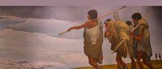 Mural de Raul Anguiano que representa el poblamiento de América durante el periodo pleistoceno. La escena representa a los cazadores siberianos cruzar hacia América mediante el estrecho de bering.