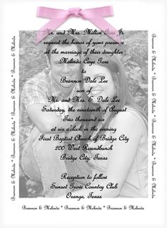 Wedding Invitation - Photo with Vellum Overlay (several samples). $100.00, via Etsy.