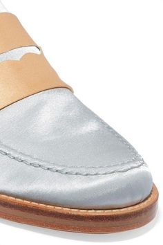 MR by Man Repeller - Two-tone Satin Loafers - Silver - IT36