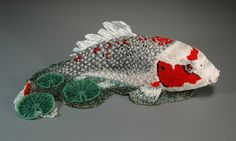 """Grigsby beadwork sculpture """"Jeannie's Koi""""  (overall)"""