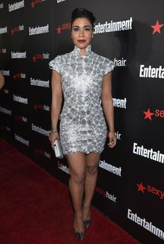 Loving the short silvery dress... now where can I get one! ?!?!?