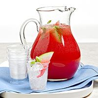 This fruity, minty drink Watermelon Cooler Punch has summertime written all over it. For a simple shortcut, purchase a seedless watermelon. Watermelon Punch, Watermelon Cooler, Watermelon Recipes, Watermelon Drinks, Watermelon Slices, Party Food And Drinks, Fun Drinks, Yummy Drinks, Beverages