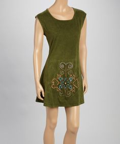Love this Olive Embroidered Cap-Sleeve Dress by Blue Sky on #zulily! #zulilyfinds