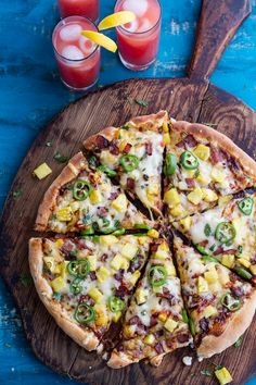 The TJ Hooker Pizza (Chipotle BBQ and Sweet Chili Pineapple + Jalapeño Pizza with Bacon)! from @hbharvest
