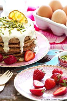 Homemade Graham Flour Pancakes with Cream Cheese Maple Sauce on FamilyFreshCooking.com