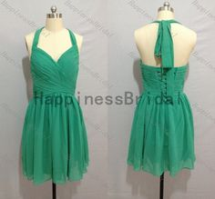 Sleeveless prom dress,green halter evening dress,fashion bridesmaid dress,chiffon prom dress,short hot sales dress,2014 dresses