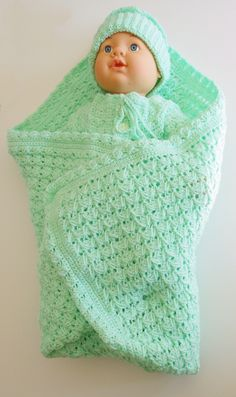"""Keep your baby warm with this handmade Crocheted Pale Green Infant Set. I hand crocheted this infant set using Caron Baby Sport, acrylic, pale green yarn. It is soft and lightweight. Crocheted Pale Green Infant Set includes an Afghan, which is approx. 29"""" X 30"""", a Sweater, Booties and Hat, which will fit 1-3 mo. (the pompoms are hand made). Handmade by Crafting Memories #cpromo"""