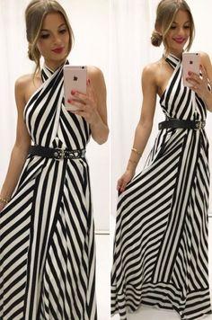 Dlhé letné šaty voľného strihu  viazaním okolo krku s holým chrbtom, vhodné na dovolenku či na každodenné nosenie.