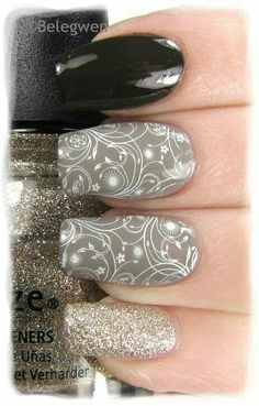 stempel nägel 5 besten Look at the best stamp nails in the pictures below and choose your own! Fabulous Nails, Gorgeous Nails, Love Nails, Nagel Stamping, Stamping Nail Art, Grey Nail Designs, Beautiful Nail Designs, Trendy Nail Art, Manicure And Pedicure