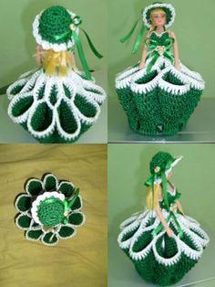 Crochet Crinoline Lady Doily with an umbrella lace Appliqu Baby Blanket Crochet, Crochet Baby, Knit Crochet, Crochet Doll Dress, Crochet Doll Clothes, Crochet Crafts, Crochet Projects, Knitting Patterns, Crochet Patterns