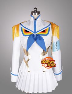 Kill LA Kill Satsuki Kiryuin White Blue Uniform Customizable Anime Cosplay Costume CS320F - CosplayBuzz