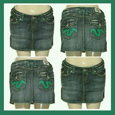 "LAGUNA BEACH DENIM SKIRT - NWT Adorable skirt. Green hand stitching & cute green design on back pocket. Fluer de lis buttons. Comes with extra bag of fluer de lis buttons. Preferred hand wash for best results. WAIST 30"" LENGTH 12"" HIPS36"" LAGUNA BEACH Skirts"