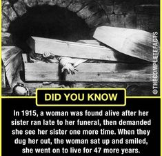I'd freak out & put her back in the damn grave😂 Fun Facts Scary, Wierd Facts, Wow Facts, Intresting Facts, True Facts, Some Amazing Facts, Interesting Facts About World, Unbelievable Facts, Interesting Reads