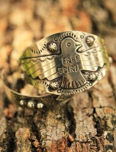 "The FREE SPIRIT thunderbird cuff is symbolic to us for what it says, and what it means. .  .the THUNDERBIRD is symbolic for ""sacred bearer of happiness unlimited"" . . and that's just somethin' that we can get behind . . . 100%. {junk gypsy co}"