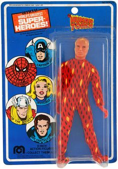 A carded example of a Human Torch action figure representing the Johnny Storm incarnation of the character from Marvel Comics' Fantastic Four comic book and animated series, United States, 1975-80, by Mego as part of their World's Greatest Super Hero line of toys.
