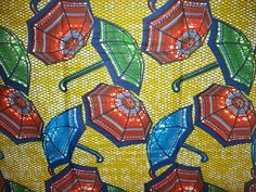 Colorful umbrella wax print fabric per yard by tambocollection, $8.00