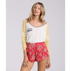 Billabong Women's Morning Sunshine Raglan ($35) ❤ liked on Polyvore featuring tops, t-shirts, gold dust, knit tops, raglan tee, long sleeve v neck t shirts, billabong t shirts, long sleeve tops and long sleeve v neck tee