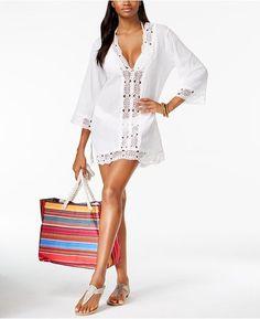La Blanca Island Fare Cotton Crochet-Trim Tunic on sale at Macy's. cover-up Cotton Crochet, Crochet Trim, Driven By Decor, Tunics Online, Swimwear Brands, Swimsuit Cover Ups, Cotton Tunics, Trendy Plus Size, Women Swimsuits