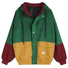 Windbreak Long Sleeve Top ColorBlockContrast Waterpoof Jacket Vintage Shell Coat