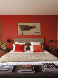 This wall makes a statement!    Grandin Road Color Crush on Burnt Orange