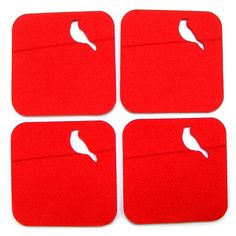 Felt coaster, 4 pieces, red, with bird, bird on a branch, 3 mm dick, laser cut, wedding coasters, custom coasters on Etsy, $10.00