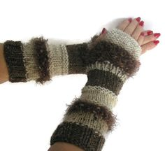 Brown Fingerless Gloves Hand Knit Fingerless by ArlenesBoutique $45.00 #fingerlessgloves #mitts #armwarmers