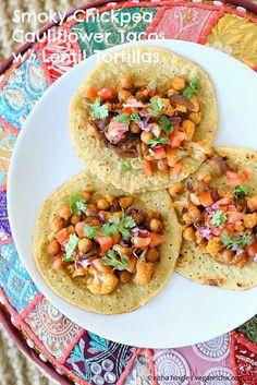 Chickpea Cauliflower Tacos with Lentil Mung Bean Tortillas. Vegan Gluten-free Grain-free Recipe by Vegan Richa ---- need quinoa back for this recipe Gluten Free Grains, Vegan Gluten Free, Vegan Vegetarian, Vegetarian Recipes, Healthy Recipes, Veggie Recipes, Mexican Food Recipes, Whole Food Recipes, Cooking Recipes