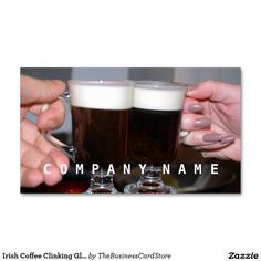 Irish Coffee Clinking Glasses Double-Sided Standard Business Cards (Pack Of Irish Coffee, Company Names, Business Cards, The 100, Packing, Restaurant, Templates, Mugs, Glasses