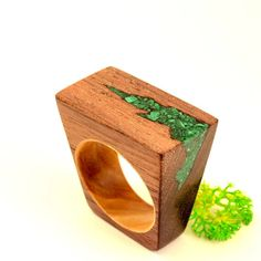 Wooden ring Malachite #jewelry #handmade #unique