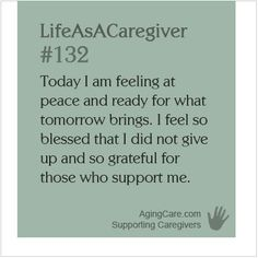 """""""Caregivers will give up an hour of precious sleep to find out they are not as isolated as they think. They will also give up precious sleep to help one another. They are not alone when they have this connection, and they want others to know that they, too, are not alone. These are generous people.""""--Carol Bradley Bursack, caregiver, columnist    Find support you can be grateful for: http://www.agingcare.com/  #LifeAsACaregiver"""