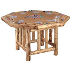 Rush Creek Log Cabin Style Octagon Poker Table - $499.99 @hayneedle. Item # HN-TSU014.  Crafted from kiln-dried, hand-selected pine logs.  Hand-sanded and hand-applied skip peel finish.  Dedicated stations for 8 players.  Built-in drink and poker chip holders.  Reinforced joints and heavy-duty counter-sunk bolts.