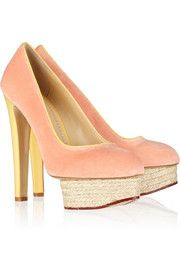 Charlotte OlympiaDorothy velvet and crepe de chine pumps