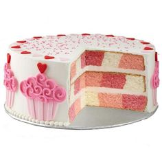 Cake with Hearts and Cupcakes ❤ liked on Polyvore featuring food, cake, comida, food and drink, food & drinks and filler