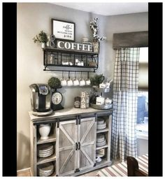 Home Remodeling Living Room 45 Best Farmhouse Living Room Makeover Decor Ideas Coffee Bar Home, Home Coffee Stations, Coffee Bar Ideas, Coffee Corner, Coffee Nook, Coffee Bar Design, Coffee Station Kitchen, Coffee Themed Kitchen, Coffee Bar Station