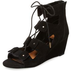 Dolce Vita Women's Lara Lace-Up Wedge Sandal - Black - Size 10 ($85) ❤ liked on Polyvore featuring shoes, sandals, black, platform sandals, leather lace up sandals, black platform sandals, wedges shoes and black lace up sandals