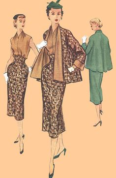 """SE50-9113 Three-Piece Suit, circa 1952    Swagger coat is reversible.    Suggested fabrics are: tweed, flannel, worsteds, gabardine, faille, Bengaline, velveteen, or suitings.  Fabrics for the blouse are: taffeta, shantung, dupioni or crepe.  The size 18 blouse requires 3-3/4 yards of 45"""" fabric without nap.  The size 18 skirt and jacket require 4 yards of 54"""" fabric without nap."""