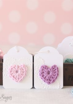 mini crochet heart gift tags